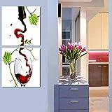 ZDFDC Moderne wandkunst leinwand gemälde 2 stücke Rotwein Bild für küche Zimmer decor-20x20cmx2_kein Rahmen