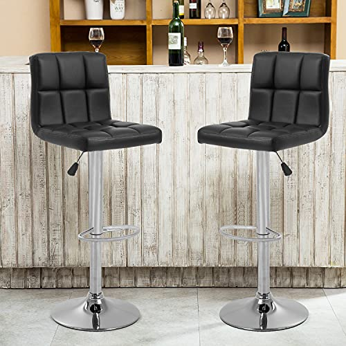 OffiClever Modern Bar Stool Set of 2 Counter Height Barstools Heigh Adjustable Swivel Bar Stool PU Leather Bar Chairs Home Kitchen Stools Hydraulic Dining Room Chairs, Black