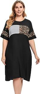 JollieLovin Women Casual Summer Dresses with Pockets Plus Size Summer Dresses Short Sleeve Round Neck Tshirt Dress Patchwo...