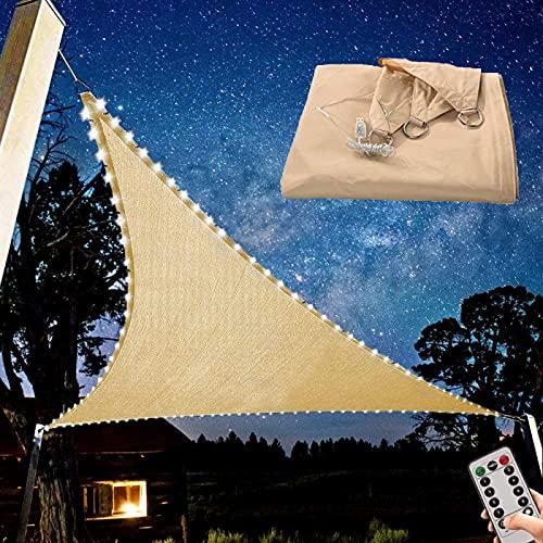 Triangle Patio Sun Block Schatten Segel, 3,6 X 3,6 X 3,6 M Wasserdichter Planenüberdachung mit Eingebauten Weißen LED-Lichtern, Bis zu 95% UV-Schutz Sunshade Canopy