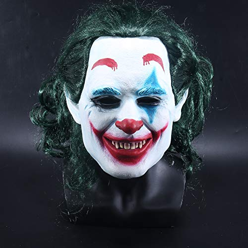 K-Y YK 2019Joker mask Man Halloween Latex mask Scary super Villain Movie DC Props Funny Clown Wig