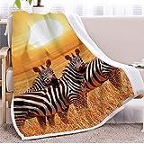 Zebra Sherpa Fleece Decke Sunset Throw Blanket Gestreifte Tier Plüschdecke Bunte Wohnkultur Decken Tagesdecke Bettwäsche 130 * 150cm