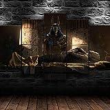 IIIUHU 5 Piezas Cuadro sobre Lienzo De Fotos Dios Egipcio Anubis Egipto Lienzo Impresión Cuadros Decoracion Salon Grandes Cuadros para Dormitorios Modernos Mural Pared Listo para Colgar