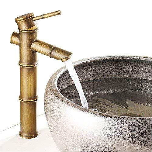 Professionelle Spüle Mischbatterie Küchenarmatur Das Format der Antique Brass Wasserhahn Antique Bamboo Single Hole Becken Mischbatterie Bank Töpfe heißer und kalter Wasserhähne in Port 2, S3