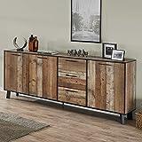 Aparador industrial de 220 cm, color madera envejecida ICARE