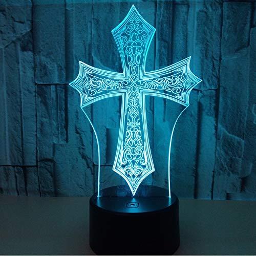 3D Nachtlichter,Fernbedienung Kreuz 3D Nachtlicht Kreative Elektrische Illusion 3D Lampe Led 7 Farbwechsel Usb Touch Schreibtischlampe Für Geschenk Des Kindes