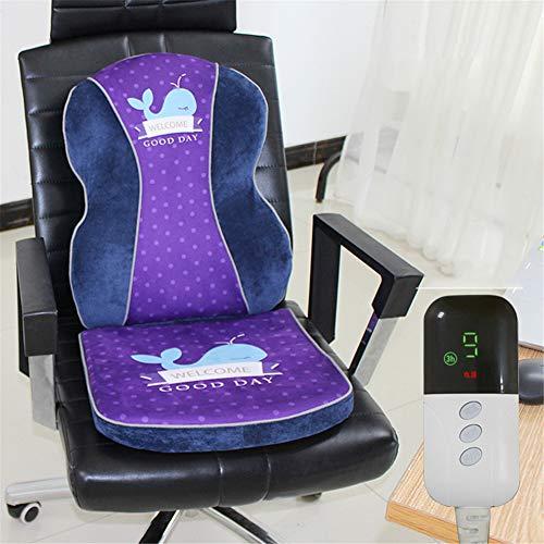 FDCVF Elektrische deken voor op kantoor, verwarmd kussen, traagschuim, stoelpad met hitte, radianale curve, verlicht taille klachten, 9-speed temperatuurinstelling