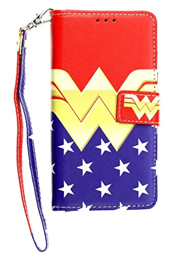 iPhone 7 Wallet Case, IMAGITOUCH Folio Flip PU Leather Wallet Case with Kickstand Wrist Strap and Card Slots for iPhone 7- Female Hero Wonder Woman Wallet California