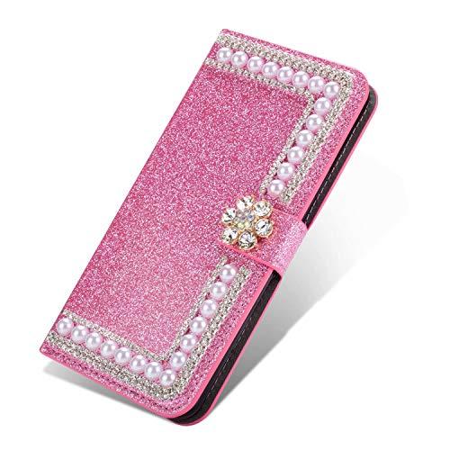 Nadoli Galaxy S20 Ultra Leder Hülle,Bling Glitzer Diamant 3D Handyhülle im Brieftasche-Stil Blume Perle Flip Schutzhülle Etui für Samsung Galaxy S20 Ultra,Rosa