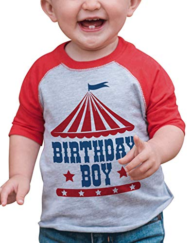 7 ate 9 Apparel Boy's Birthday Circus Red Raglan - Red - 2 Years