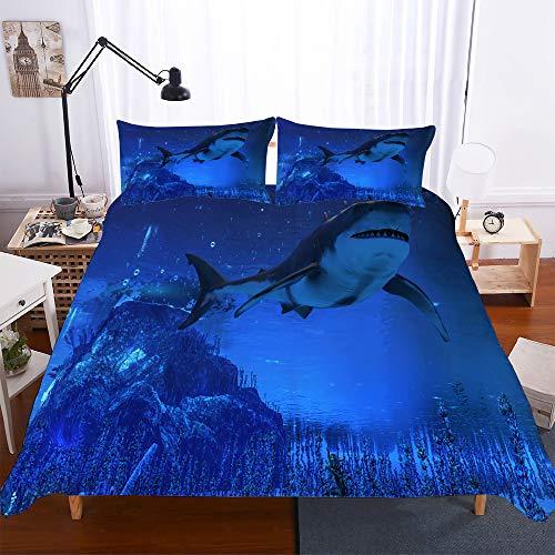 Meiju Bettwäsche-Set Bettbezug Kissenbezug, Mikrofaser Bedding Set Weich Haltbar Atmungsaktive - 3D großer Hai-Druck (Einzelner Hai,135x200cm(2pcs))