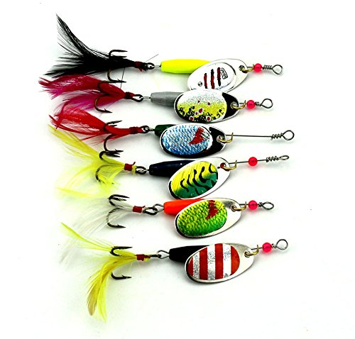 Fishing Lure Spinnerbait Hard Metal Spinner baits kit (A Group of Six Bait) Fishing Lure Tackle for Bass,Trout,Walleye,Salmon (sp008) (SP008)