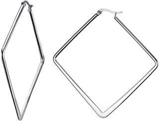Stainless Steel Oversize Minimalist Polished Simple Plain Geometric Flattened Hoop Earrings for Women Girl, squre/hoop/round Shape