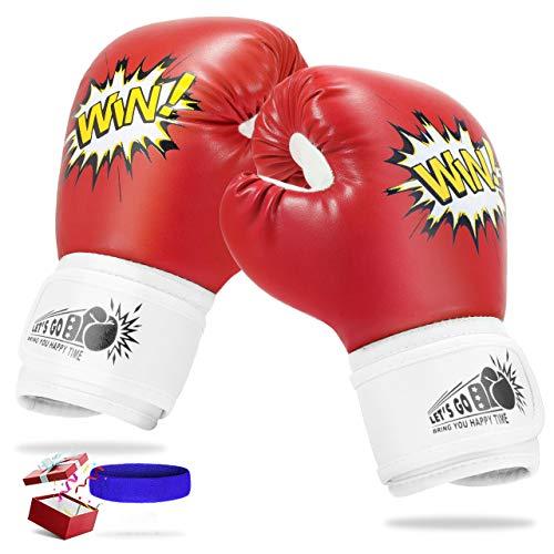 LetsGO toyz Spielzeug Jungen 4 5 6 7 8 9 10 11 12 Jahre, Kleinkinder Boxhandschuhe Kickboxen Kinder ab 5-12 Jahre Geschenke für Mädchen 3-12 Jahre Spielzeug für Mädchen 5-12 Jahre (Rot)