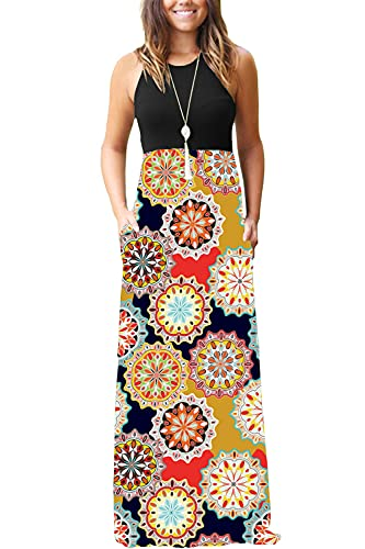 OURS Womens Summer Contrast Sleeveless Tank Top Floral Print Maxi Dress (As Pattern2, M)