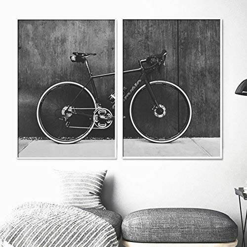 KDSMFA Bicycle Mountain Bike Landscape Wall Art Canvas Painting Nordic Posters and Prints Wall Pictures for Living Room Bedroom Decor-50x70cmx2 no Frame