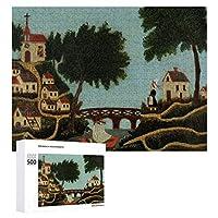 INOV アンリ・ルソー著橋と 景色 ジグソーパズル 木製パズル 500ピース キッズ 学習 認知 玩具 大人 ブレインティー 知育 puzzle (38 x 52 cm)