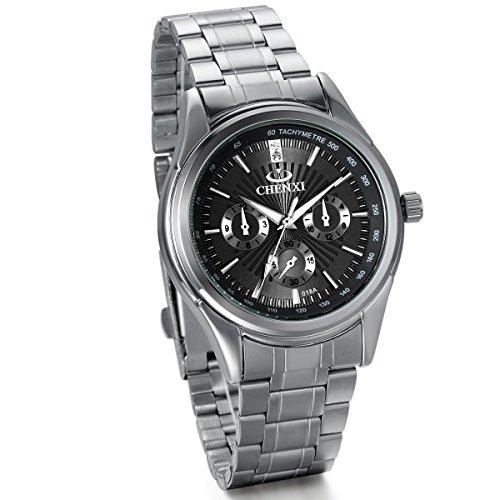 JewelryWe Herren Armbanduhr, Klassische Atmosphäre Charme Analog Quarz Uhr mit Edelstahl Armband, Schwarz Zifferblatt
