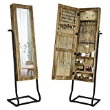 Jewelry Armoire Cabinet, Solid Wood Standing Jewelry Organizer with Full Length Mirror (Carbonized Black)