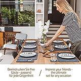 Miqio® – Design 12 teiliges Premium Platzset – Filz und Leder- für 4 Personen, waschbar, je 4 Tischsets, Glas-Untersetzer, Bestecktaschen (dunkelgrau anthrazit) - 3