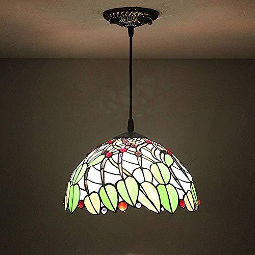 DALUXE 12 Pulgadas Pastoral rústico del vitral del Vintage de Tiffany Hojas Verdes en Pendiente Techo del Pasillo Luz Viva