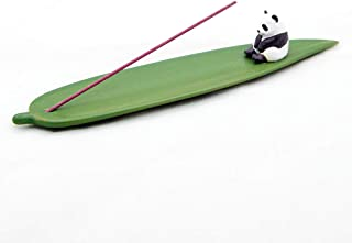 SUNNYHILL Incense Stick Holder Bamboo Leaf and Panda Ceramics Material Modern Design Incense Ash Catcher Tray Best for Med...