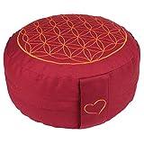 maylow Yoga mit Herz Meditationskissen Blume des Lebens buddhistisch/rot waschbar