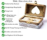 Happy Weddng Art Ringkissen Hochzeit Ring Box Ringbox Vintage Stil Holz Ring Schatulle Hochzeitsdeko Deko Holz Ring Box - 3