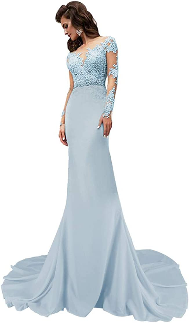 Mermaid Wedding Dresses for Bride Long Sleeves Bridal Prom Evening Gowns Formal
