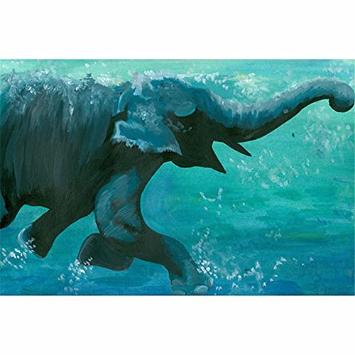 DIY 5D Diamond Painting Kits Full Crystal Rhinestone Diamond Painting Adults Kids Embroidery Mosaic Canvas Crafts Arts for Home Wall Decor Gift Swimming Elephant 70x90cm