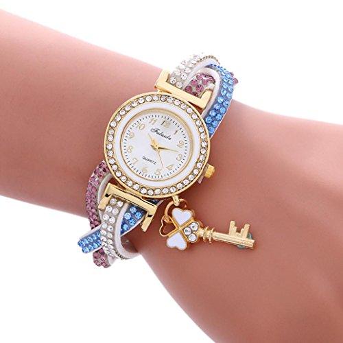 Mingfa.y modisches Lederarmband, Armbanduhr, Vorhängeschloss, Diamant-Uhren, Wickelkette, Armreif für Frauen Band Band Length (Included the case):25cm weiß