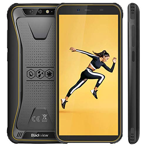 "【Blackview Oficial】 BV5500 (2019) Móvil Libre Resistente IP68 Impermeable Robusto de 5.5"" (13.9cm, 18:9), 2GB/16GB, Android 8.1, Doble Cámara 13MP+5MP, 4400mAh Batería SIM Doble Smartphone- Amarillo"