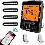Meat Thermometer for Grilling Rilitor Smart Wireless Remote Meat Thermometer with 4 Probes Digital...