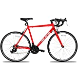 Hiland Men s Road Bike,Adult Alumilum 700C Road Racing Bicycle for Men,Urban Commuter Bike for Boys,Shimano 21 Speed Bike,Red