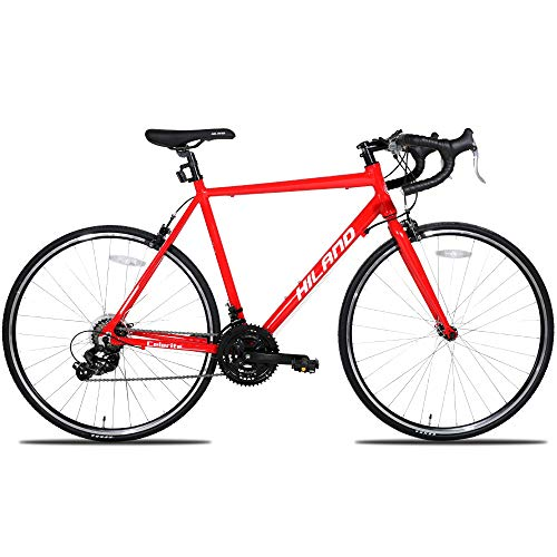 Hiland Men's Road Bike,Adult Alumilum 700C Road Racing Bicycle for Men,Urban Commuter Bike for Boys,Shimano 21 Speed Bike,Red