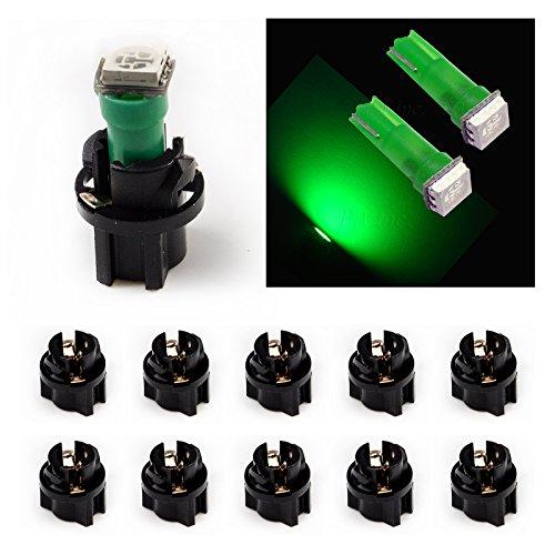 PA 10 x T5 74 73 5050 SMD Simple Vert Auto Tableau de Bord lumière 12 V + Prise Twist Lock
