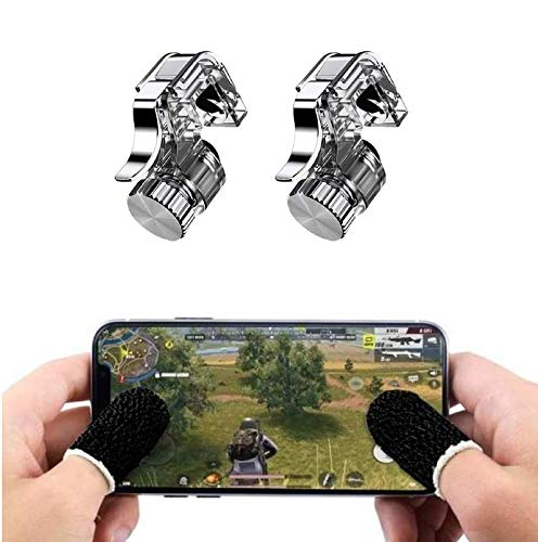 esuav R11 PUBG Triggers for Pubg Mobile Gaming with Sensitive Shoot Fire and Aim Button. with Pubg Finger Sleeve Anti-Sweatproof Sensitive Game Controller for pubg for All Smartphones.