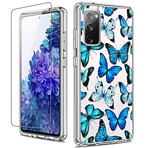 LUHOURI Galaxy S20 FE Case with Screen Protector,Blue Butterflies Floral Flower Designs on Clear Bumper Cover for Women Girls,Shockproof Slim Fit Protective Phone Case for Samsung Galaxy S20 FE 6.5'