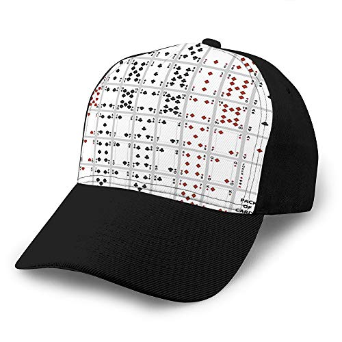 8 Gorra de béisbol de algodón de Moda de Verano Unisex Sombreros de Camionero Ajustables Cartas de póker Juego Completo diseño de Cuatro Colores Deportes Snapback