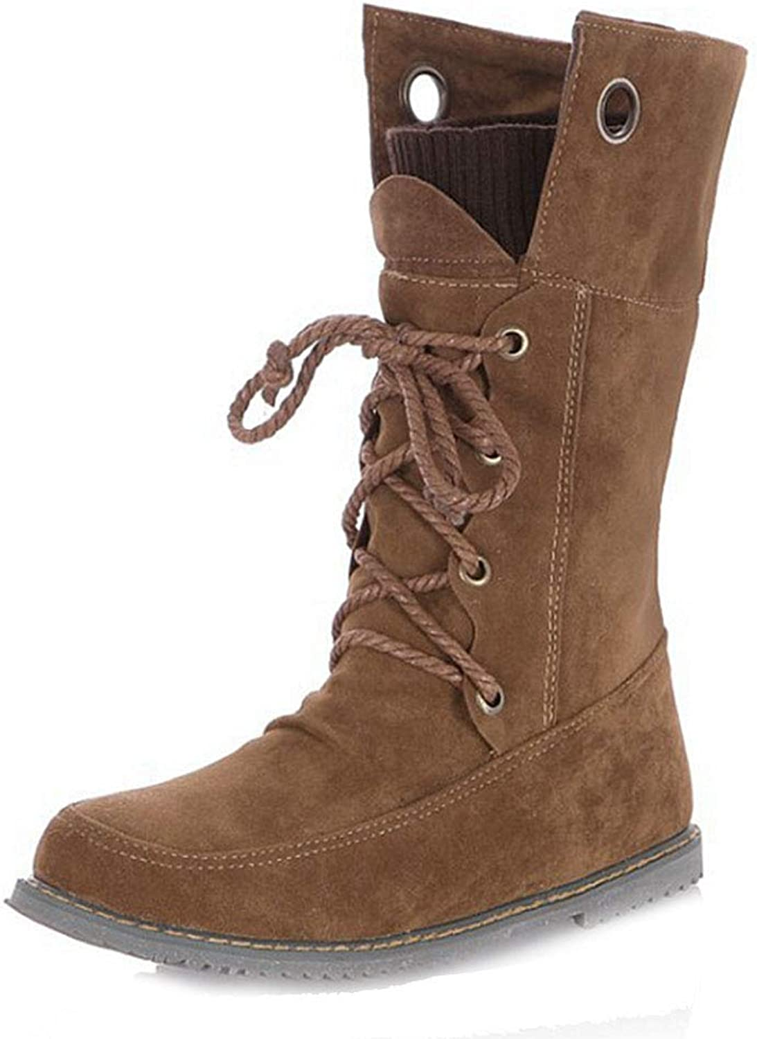 Elsa Wilcox Women Round Toe Comfort Riding Bootie Casual Walking Short Martin Boot Lace Up Flat Combat Ankle Boots
