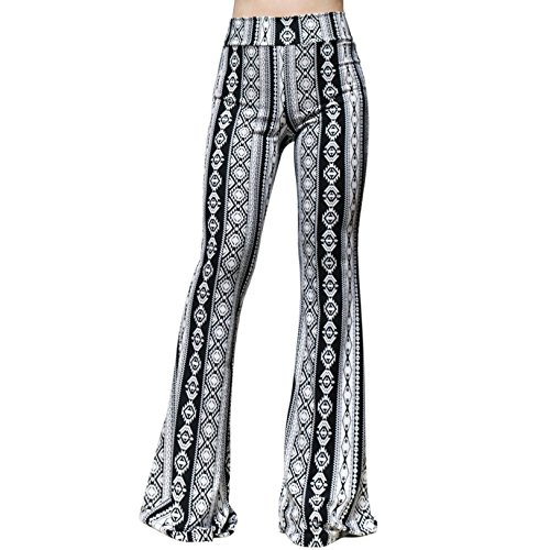 ShopMyTrend Women's High Waist Wide Leg Long Bell Bottom Yoga Pants Small B&W Tribe