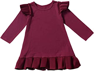 Oklan Toddler Baby Girl Dress Ruffle Long Sleeve Solid Color Fly Skirt Pleated Dresses