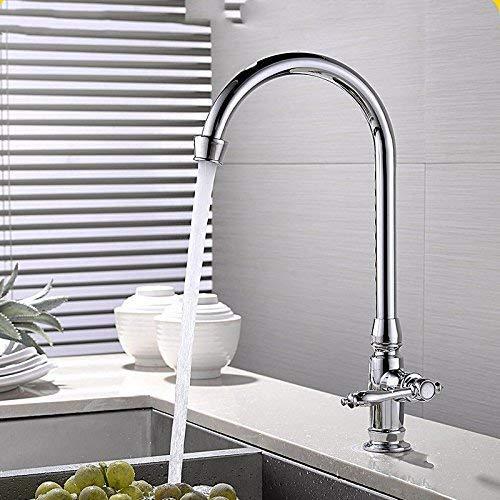 LHQ-HQ Grifo de lavabo mezclador cascada baño antiguo La cocina plato lavabo mezclador rotación para lavar platos solo grifo frío una piscina