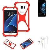 K-S-Trade® Handyhülle + Kopfhörer Für Hisense A2 Schutzhülle Bumper Silikon Schutz Hülle Cover Case Silikoncase Silikonbumper TPU Softcase Smartphone, Rot (1x),