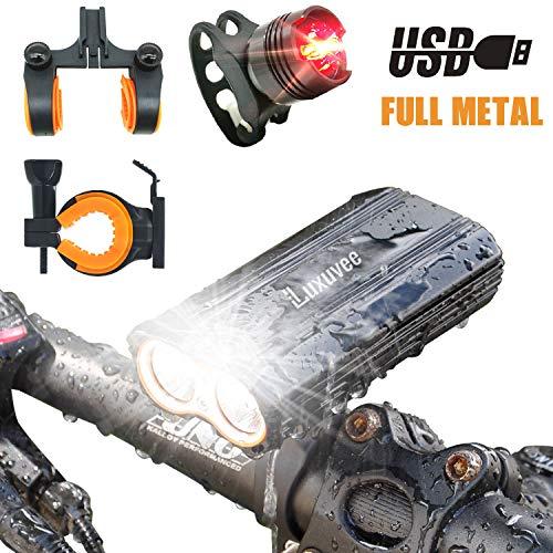 Luxuvee Fahrradbeleuchtung Led Set, Fahrradlicht USB, IP65 Wasserdichte Fahrradlampe Vorne und Rücklicht für Mountain- oder Rennrad-Nachtfahrten, mit 2 Halterungen