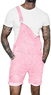 fregthf Men Denim Bib Shorts Overalls Slim Whitening Jumpsuit with Buttons Pockets Pink 2XL