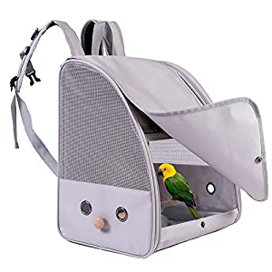 C&L Bird Carrier Backpack with Stand Perch, Bird Travel Backpack for Hiking, Airline Approved, Bird Treats and Toys (Grey, Bird Carrier Backpack)