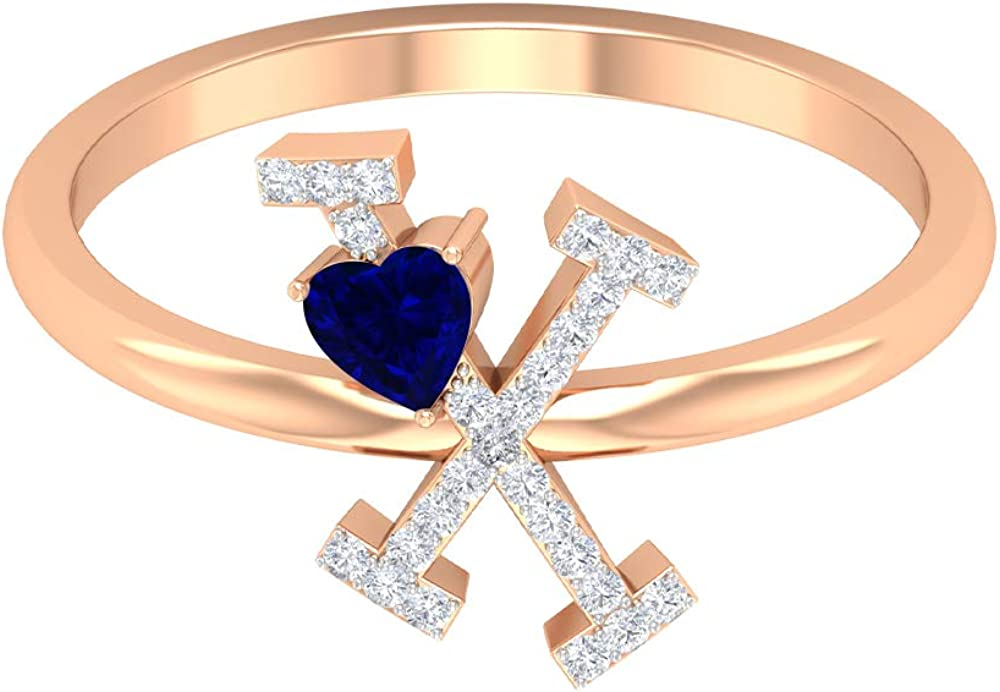 Letter X Ring, 3.50 MM Heart Shaped Blue Sapphire Ring, HI-SI Diamond Cluster Ring, Gold Alphabet Jewelry (AAA Quality), 14K Rose Gold, Size:US 6.5