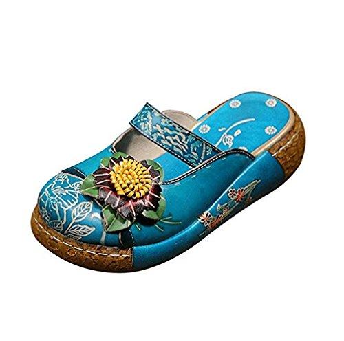 Sandalias Mujer, Popoti Sandalias Verano Cuero Zapatillas Mocasines Chanclas de Bohemia Zapatos de Flores Vintage Zapatillas de Chanclas Tacón De Cuña de Playa Nuevo (Azul-B, 38)