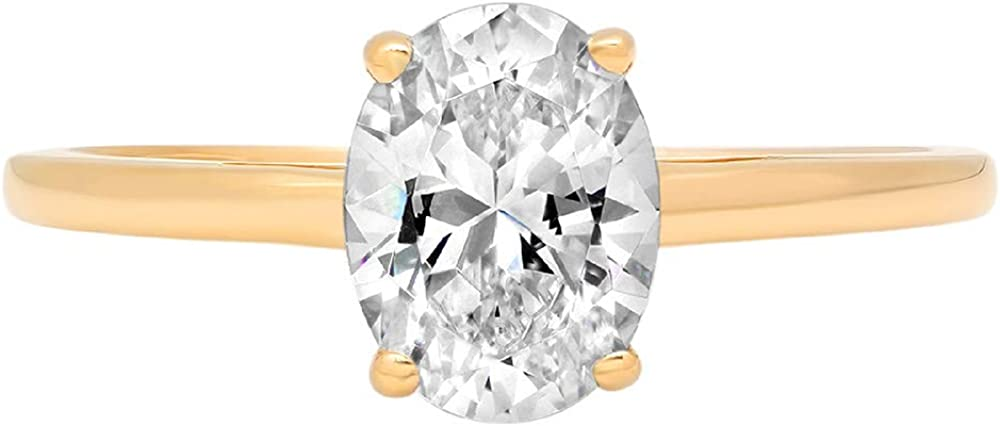 1.0 ct Brilliant Oval Cut Solitaire Genuine Moissanite Flawless Ideal VVS1 D 4-Prong Engagement Wedding Bridal Promise Anniversary Ring in Solid 14k Yellow Gold for Women